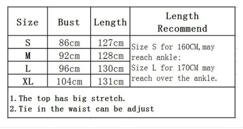 Goddess Dress Sizing