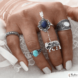 3 Stone Tibetan Elephant Ring Set - TantricJewels