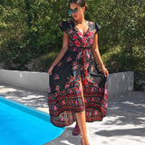 bellflower flower boho long maxi dress