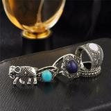 Three Stone Tibetan Elephant Ring Set