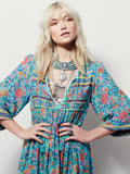 Free Soul Turquoise Hippie Dress