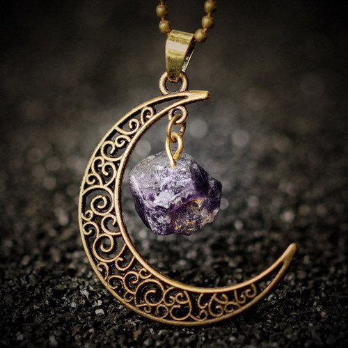 Crescent Moon Natural Amethyst Pendant