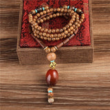 Nepal Wood Mala Beads Necklace