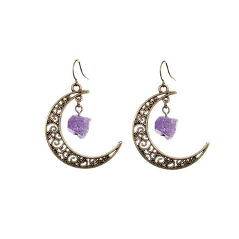 Bronze Raw Amethyst Crescent Moon Earings