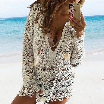 Floral Lace Beach Cover Dress