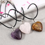 Amethyst, Pink Quartz and Tiger Eye Heart Pendant