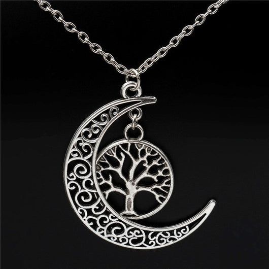 Tree Of Life and Crescent Moon Necklace