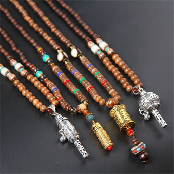 Silver Tibetan Buddhism Adder Bells Necklace
