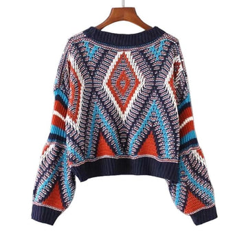 Knitted Boho Crop Top Sweater