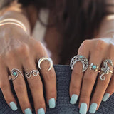 Silver Moon Ring Set