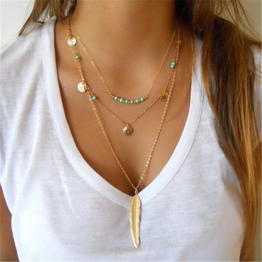 Mint Layered Leaf Necklace