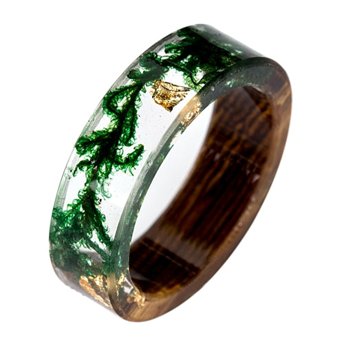 Handmade Wood and Resin Rings Green Moss Transparent Rings for Women Men Vintage Jewelry Bague Femme Best Gifts