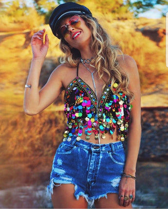 Rainbow Sequin Festival Crop Top