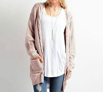 New Women's Boho Long Sleeve Open Front Chunky Warm Cardigans Pointelle Pullover Cozy Sweater Plus