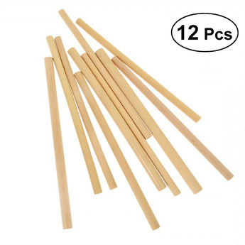 12pcs Bamboo Drinking Straws Eco-Friendly Natural Straw Cocktail Drink Straw (Random Color)