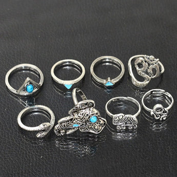 Turquoise Elephant Ring Set 1