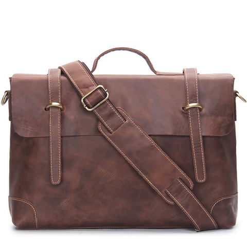 A vintage style brown leather bag