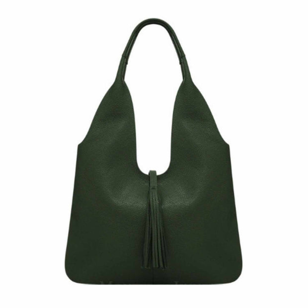 Adira Italian Leather Handbag - Tassel Hobo