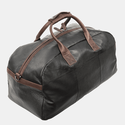 Azzurro Italiano Luxury Black Real Leather Holdall Duffle Travel Bag | Weekend Bag