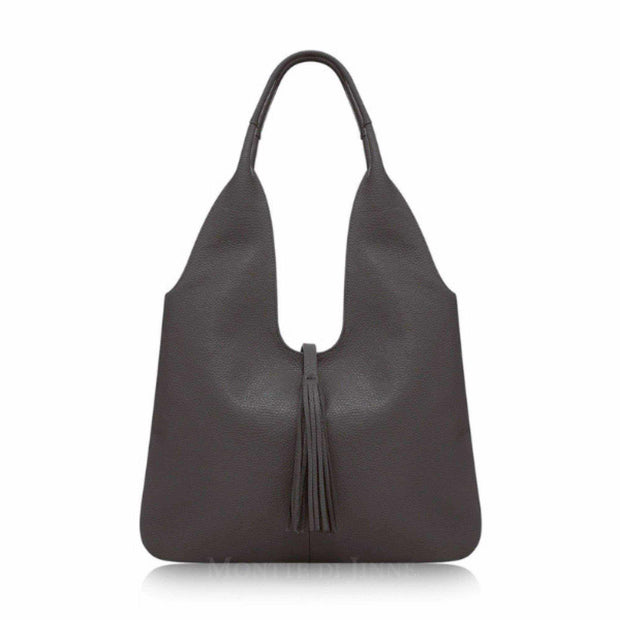 Adira Italian Leather Handbag - Tassel Hobo-Premium Leather Hobo-Borsetta Online
