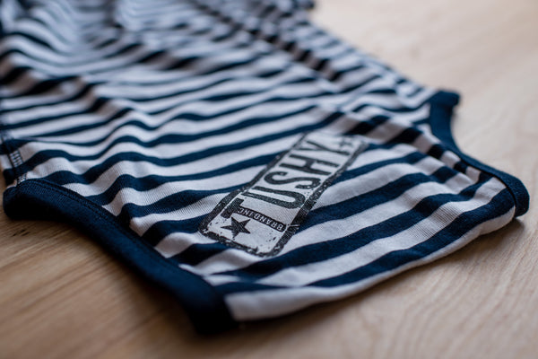 Striped, Navy Blue Short Sleeve Baby Rib Lap Onesie