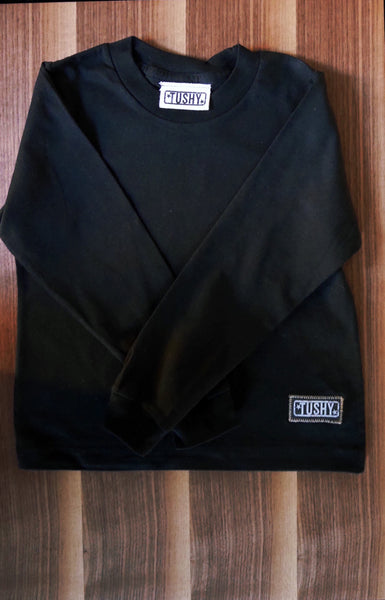 Long Sleeve Shirt with Funky Patch, 100% Organic Fine Jersey (BLACK)