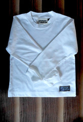 Long Sleeve Shirt with Funky Patch, 100% Organic Fine Jersey (WHITE)