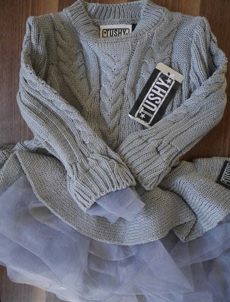 Girls Knit Sweater Dress (MUDDY BLUE/GRAY) Tulle Lace TUTU Princess Pullover
