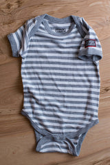 Striped, Gray Short Sleeve Baby Rib Lap Onesie