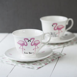 Flamingo and Message Bone China Cup and Saucer or Mug