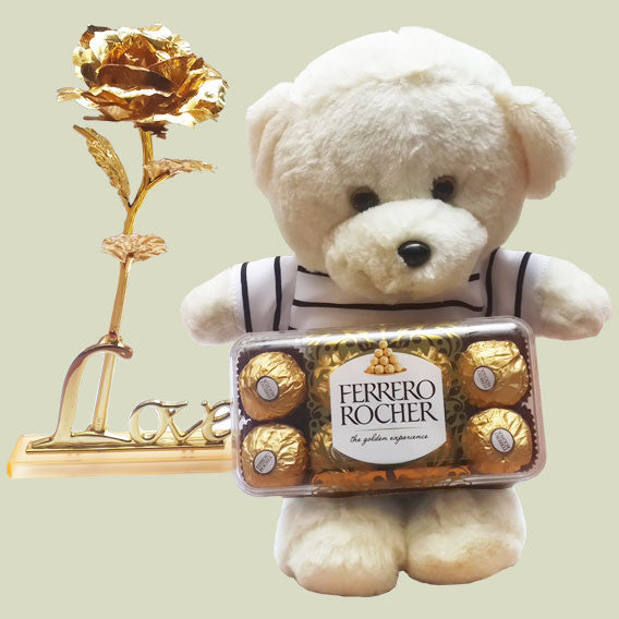 Teddy Bear and rose gold with chocolate Ferrero