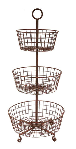 Metal 3-Tier Basket, Rust Fin