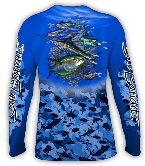 SaltBandits™ Tuna-Marlin Blue Camouflage Performance Long Sleeve T-Shirt