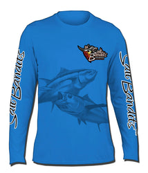 SaltBandits™ Blue Ghosted Tuna Logo Performance Long Sleeve T-shirt