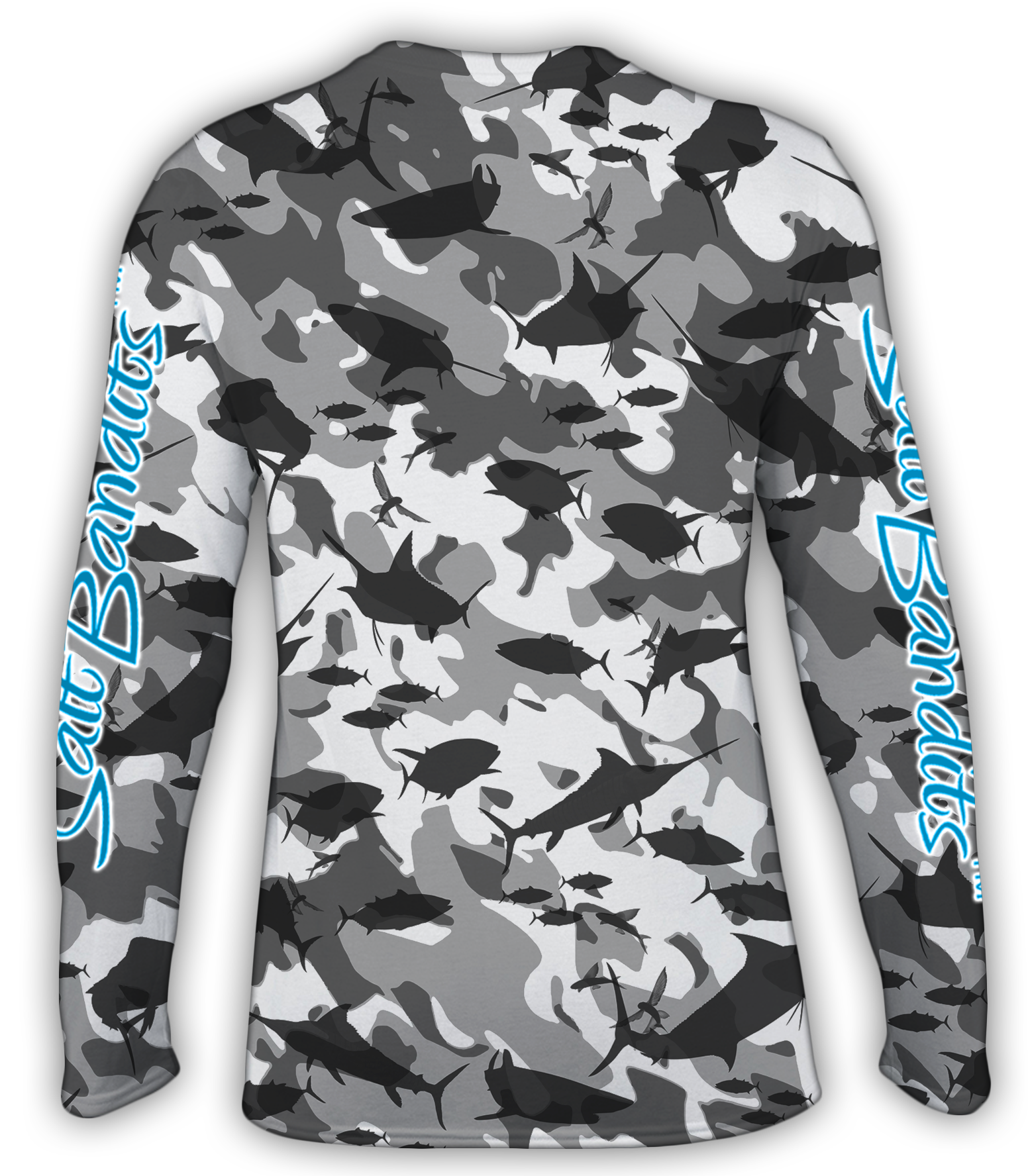 SaltBandits™ Grey Camouflage Performance Long Sleeve T-Shirt