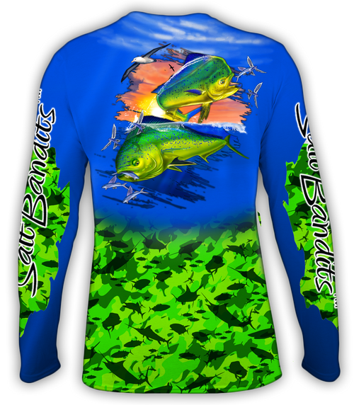 SaltBandits™ Mahi Green Camouflage Performance Long Sleeve T-Shirt