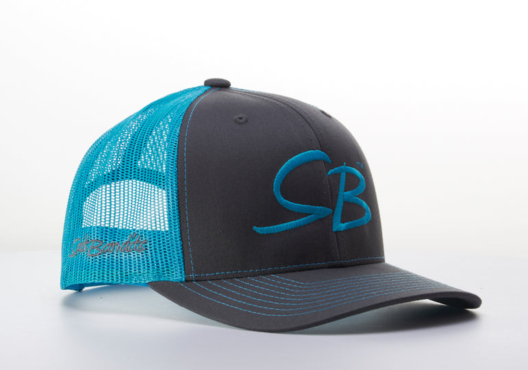 SaltBandits™  Trucker Hat Charcoal/Neon Blue