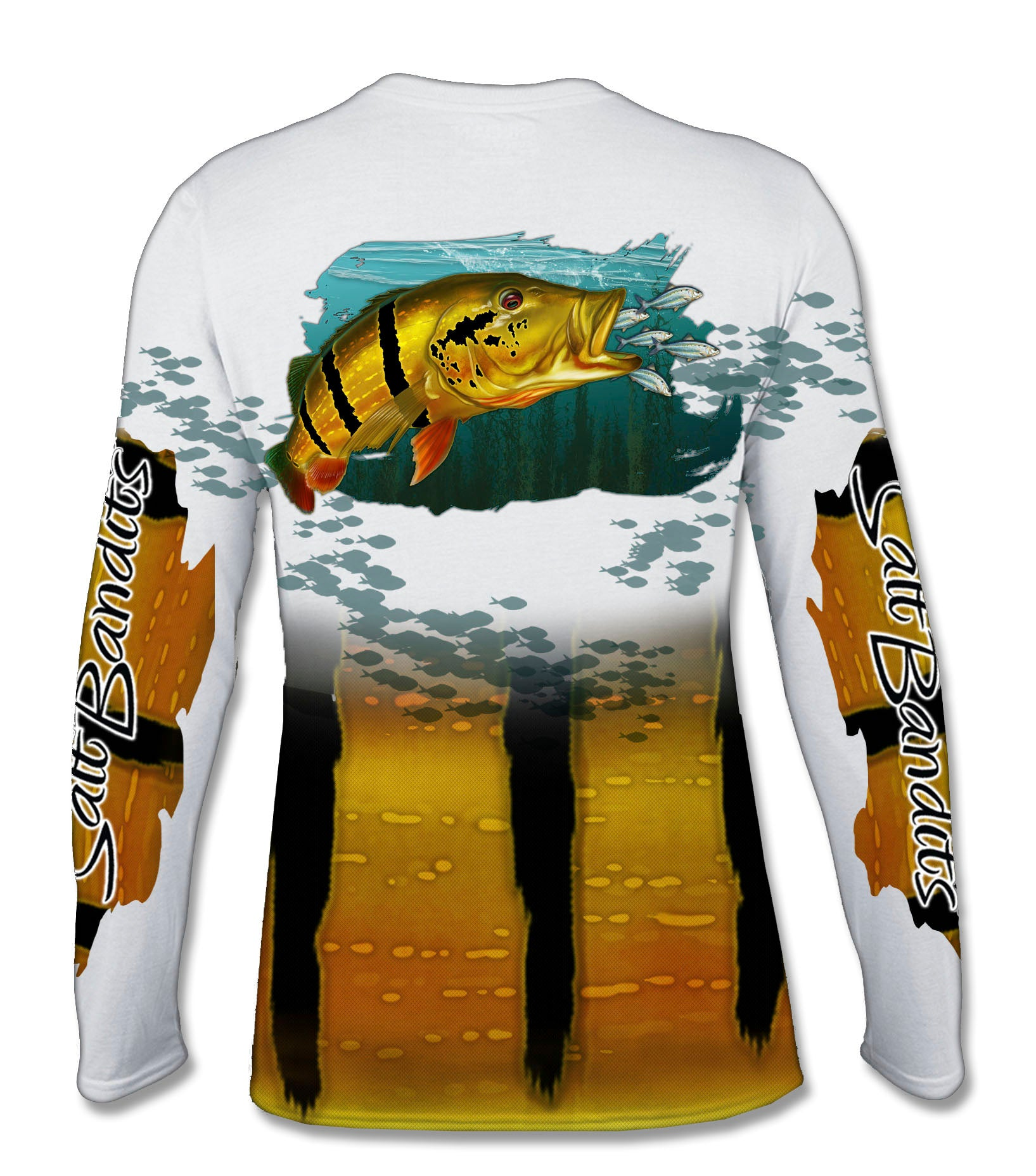 SaltBandits™ Peacock Bass Performance Long Sleeve T-shirt
