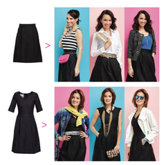 outfit variantions for skirt and dress in capsule wardrobe