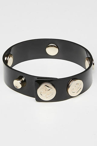 "The Moods Bracelet ""Jealous look"" - Lacquered black leather for an ultimate glam."