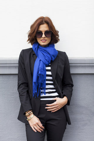 The Patan cashmere-silk scarf - royal blue - Enemy in the Wardrobe