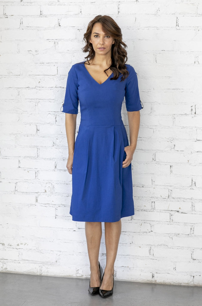 "(NEW) ""The Paris Dress"" V neck and elbow length sleeve -royal blue - Enemy in the Wardrobe"