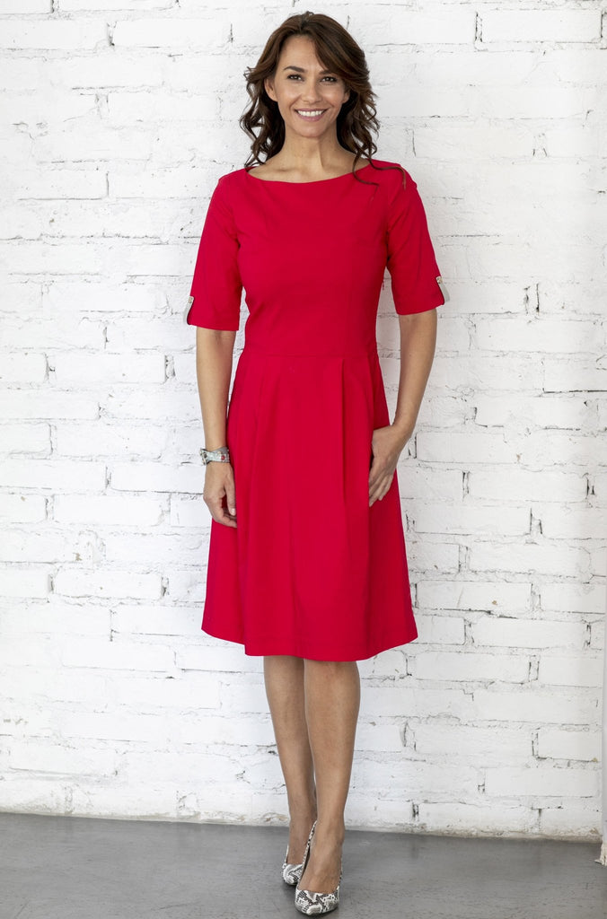 "(NEW) ""The Paris Dress"" with boat neckline and elbow length sleeve-imperial red - Enemy in the Wardrobe"