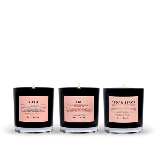Boy Smells Kush, Ash and Cedar Stack Candle Set.