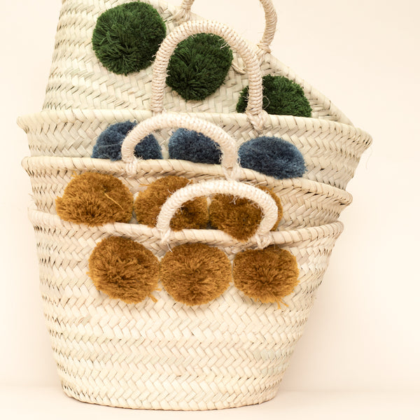 Mini Basket with Pom Poms - Various Colours