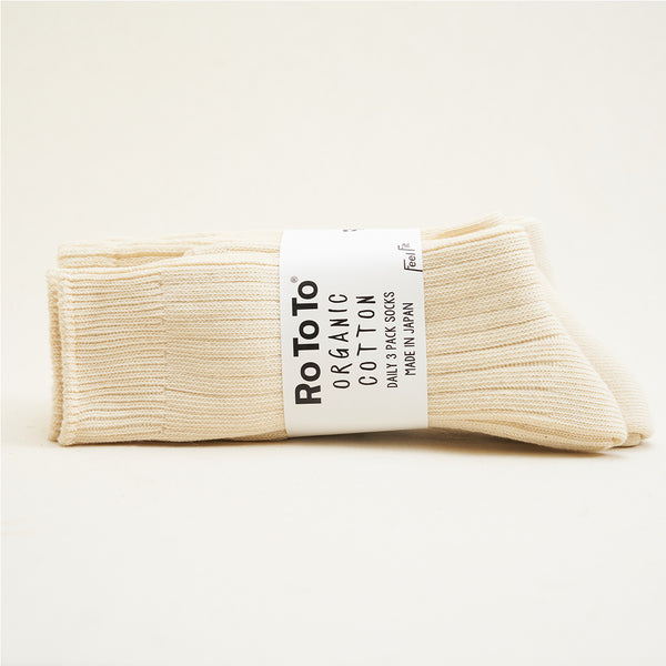 RoToTo - Organic Cotton 3 Pack Socks