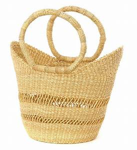 African Basket - Natural Petite Lacey Shopper
