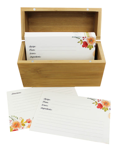 Bamboo Recipe Box Set With 100 Recipe Cards & 10 Blank Dividers | Holds Up To 200, 4x6 Cards | From Splendid Chef