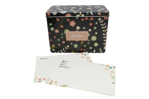 Purple Metal Recipe Box with Floral Design | Comes with 100 Recipe Cards and 20 Dividers | Holds Up to 300 Recipe Cards
