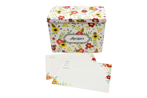 White Metal Recipe Box with Floral Design | Comes with 100 Recipe Cards and 20 Dividers | Holds Up to 300 Recipe Cards